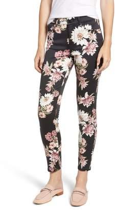 Jen7 Floral Skinny Stretch Cotton Ankle Pants