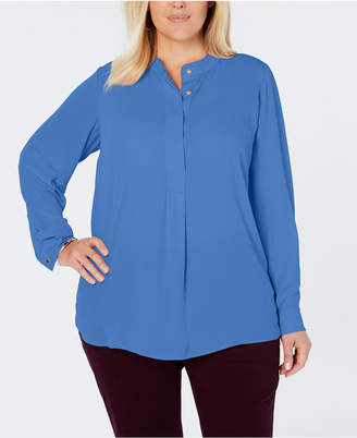 Charter Club Plus Size Banded-Collar Top