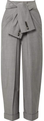 Alexander Wang Tie-front Wool And Mohair-blend Tapered Pants - Gray