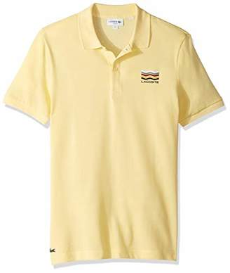Lacoste Men's S/S 2 PLY with Graphic Regular Pique Slim FIT