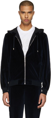 Versace Navy Velour Embroidered Medusa Hoodie $1,225 thestylecure.com