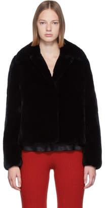 Yves Salomon Black Rex Rabbit Fur Jacket