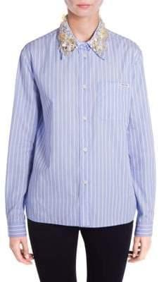 Miu Miu Embellished Collar Button-Front Shirt