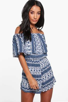 boohoo Zoya Blue Print Off The Shoulder Playsuit $30 thestylecure.com