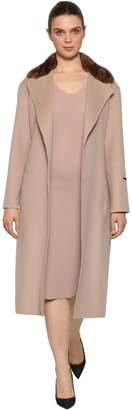 Marina Rinaldi Double Wool Coat W/ Mink Fur Collar