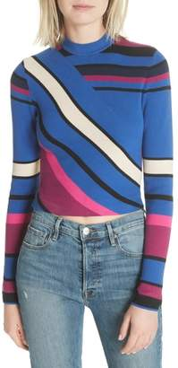 Tracy Reese Stripe Crop Cotton Top