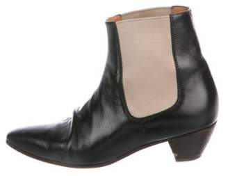 Celine Leather Pointed-Toe Ankle Boots Black Leather Pointed-Toe Ankle Boots