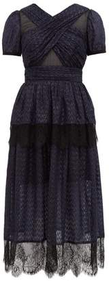 Self-Portrait Self Portrait Lace Trimmed Tiered Metallic Fil Coupe Dress - Womens - Black Navy