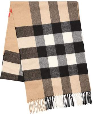 Burberry Macro Check Fringed Cashmere Scarf