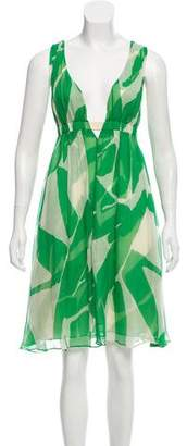 Diane von Furstenberg Sleeveless Silk Printed Knee-Length Dress
