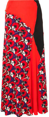 Marni Patchwork Printed Jersey Maxi Skirt - Red
