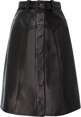 Maison Margiela Rodeo Belted Leather Midi Skirt