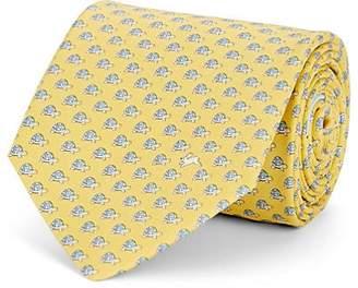 Salvatore Ferragamo Men's Turtle-Print Silk Twill Necktie - Yellow
