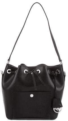 Michael Kors Leather Drawstring Bag - BLACK - STYLE