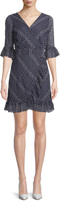 BB Dakota Clariss Polka-Dot Chiffon Wrap Dress