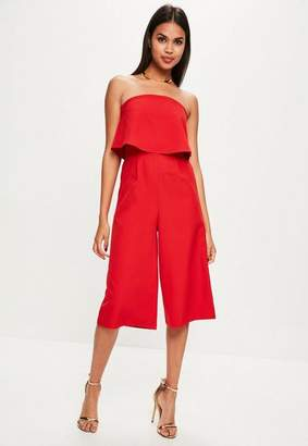 Missguided Red Layered Culottes Romper