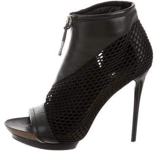 L.A.M.B. Leather Peep-Toe Booties