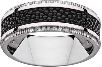 Kohl's Titanium & Textured Black Resin Band - Men