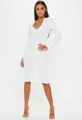 Missguided White Ribbed Long Sleeve Popper Midi Dress