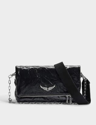 Zadig & Voltaire Rocky Creased Bag in Black Cow Leather