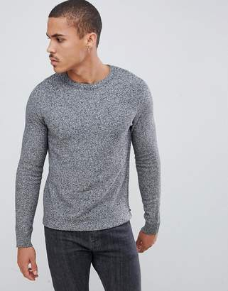 Jack and Jones Essentials crew neck textured knitted sweater in gray