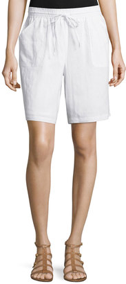 Neiman Marcus Linen Drawstring Shorts, Simply White $59 thestylecure.com