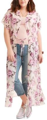 Miss Lili Junior's Plus Short Sleeve Floral Maxi Layering Cover Up