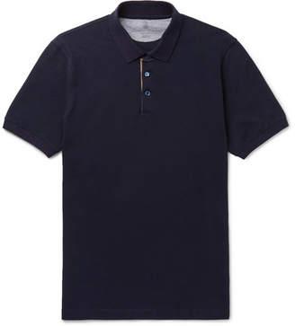 Brunello Cucinelli Slim-Fit Grosgrain-Trimmed Cotton-Piqué Polo Shirt