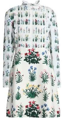 Valentino Pintucked Floral-Print Crepe De Chine And Silk-Twill Mini Dress