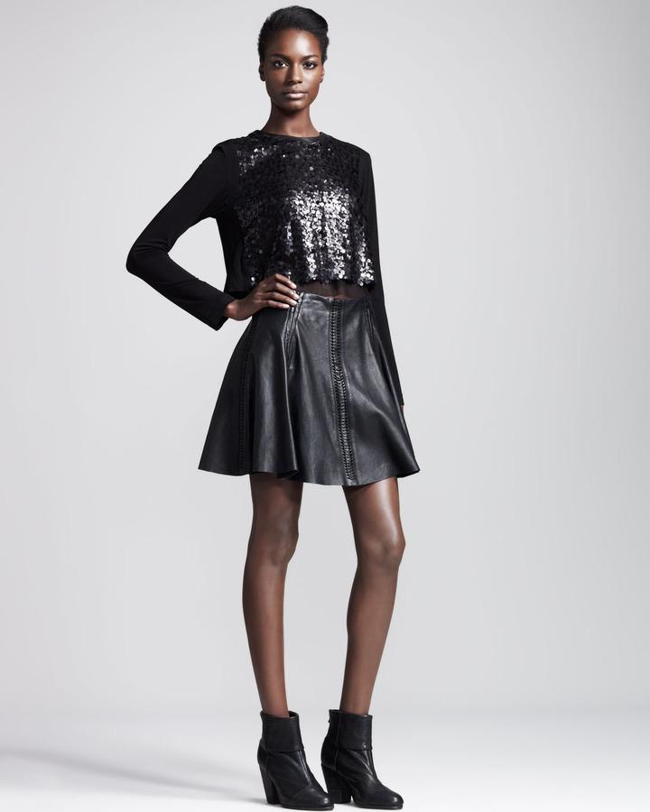 Rag and Bone Rag & Bone Renard Raw-Edge Leather Skirt