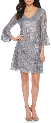 Ronni Nicole 3/4 Bell Sleeve Lace Shift Dress
