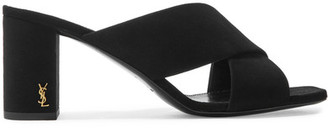 Saint Laurent - Loulou Suede Mules - Black $695 thestylecure.com