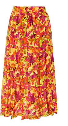 Adriana Degreas Fruits Print Pleated Midi Skirt