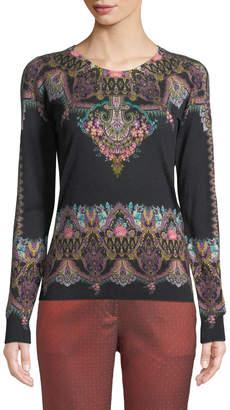 Etro Chain-Paisley Silk-Cashmere Crewneck Sweater