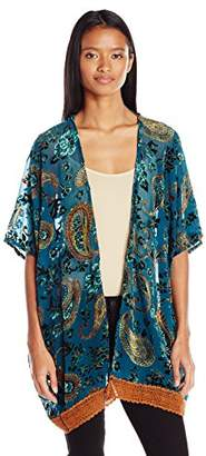 Angie Women's Velvet Burnout Kimono with Crochet Hem