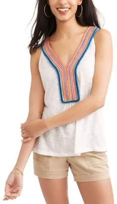 POOF-Slinky Women's Boho Embroidered V-Neck Tank Top