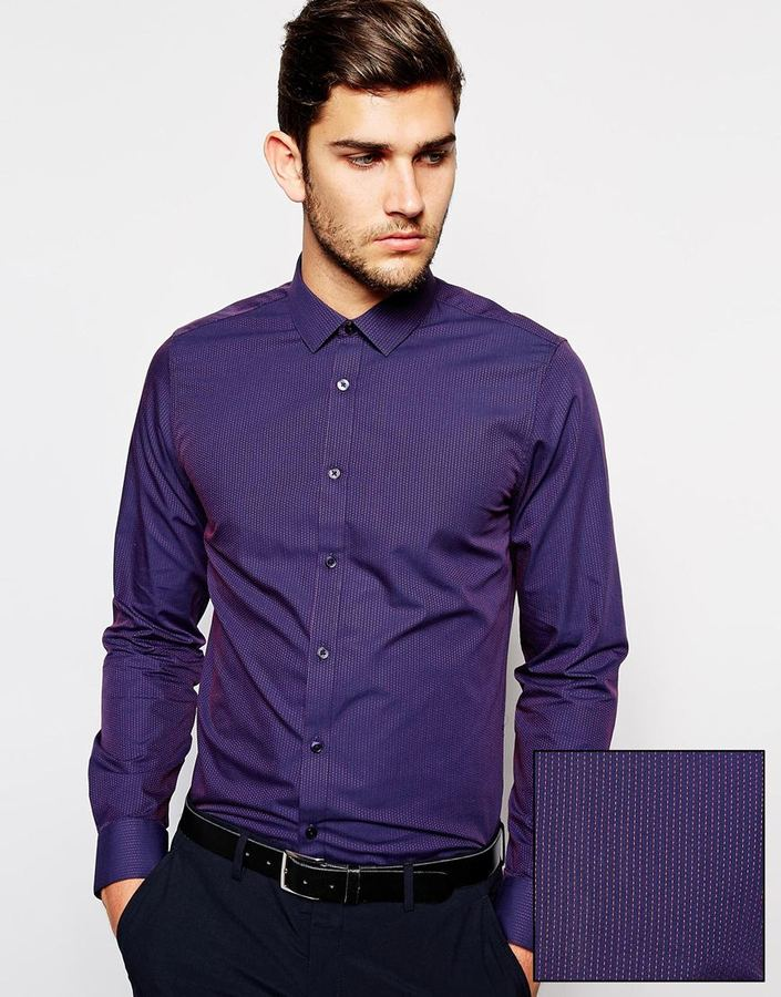 ASOS Smart Shirt In Long Sleeve With Jacquard Stripe