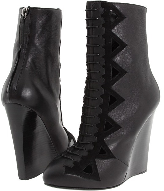Proenza Schouler Faux Laceup Wedge Bootie (Nero) - Footwear