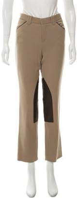 Ralph Lauren Wool & Leather Mid-Rise Straight-Leg Pants Khaki Wool & Leather Mid-Rise Straight-Leg Pants