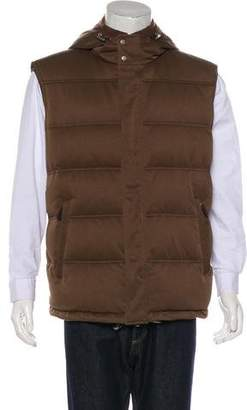 Gucci Wool-Trimmed Hooded Down Vest w/ Tags