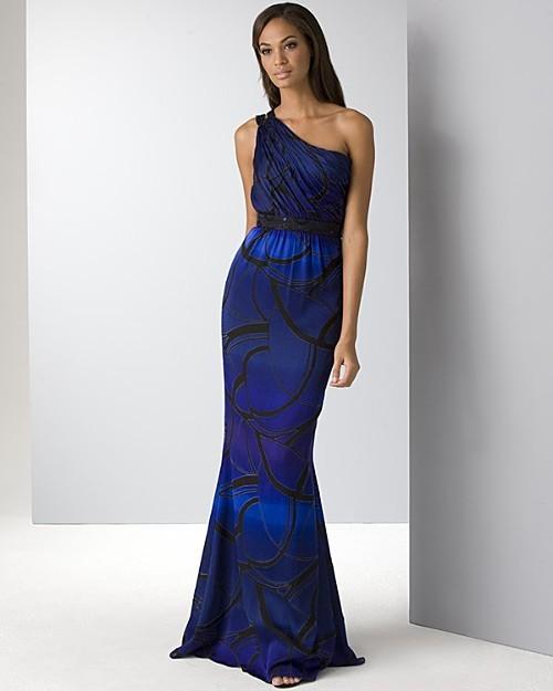 House of Dereon Women's Long One Shoulder Blue Multi Dress