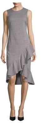 Calvin Klein Plaid Ruffled Hem Dress
