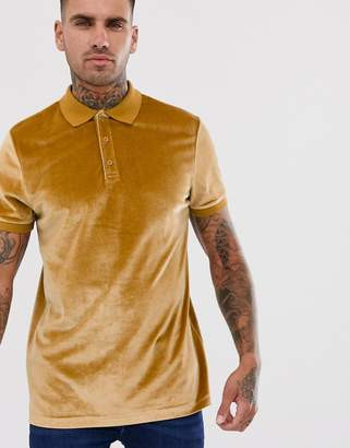 Asos Design DESIGN polo shirt in velour in brown