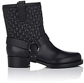 Valentino Women's Rockstud Spike Leather Biker Boots-Black