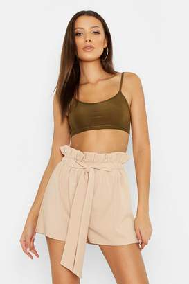 97c6b92d35ae boohoo Tall Paperbag Waist Belted Shorts