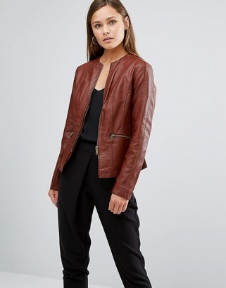 Oasis Faux Leather Collarless Jacket $76 thestylecure.com