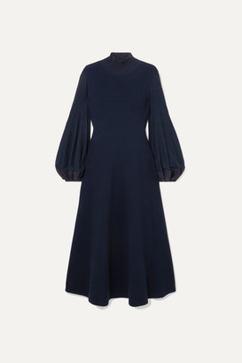 Akris Pleated Wool Midi Dress - Navy