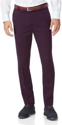 Charles Tyrwhitt Wine Extra Slim Fit Flat Front Non-Iron Cotton Chino Pants Size W32 L32