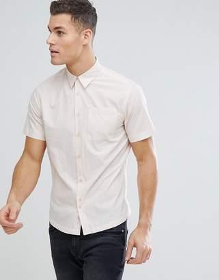 Bellfield Short Sleeve Shirt In Pale Pink