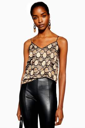 Topshop Womens Snake Piped Cami - Brown